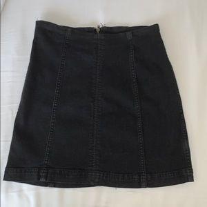 Free People Black Denim Modern Femme Mini Skirt
